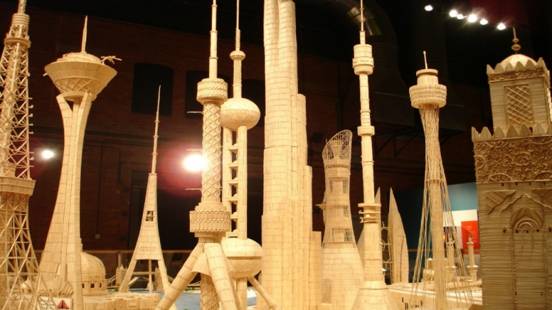 Made with Balsa wood, toothpicks, and glue, this exhibit is a handmade perfection of art.