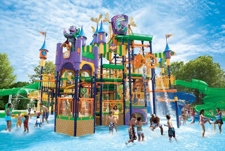 The water park at Sesame Place will keep your kids splashing and playing when its hot out.