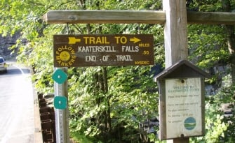 Catskill State Park. Kaaterskill Falls Trail is a 1.3 mile heavily trafficked out and back trail located near Elka Park, NY that features a waterfall and is rated as moderate. The trail is primarily used for hiking and is accessible from April until October. Dogs are also able to use this trail.