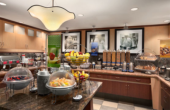 Cozy and modernized breakfast buffet area will make you feel like you are at a restaurant.