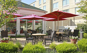 Outdoor Patio And Fire Pit At Hilton Garden Inn Wilkes Barre PA