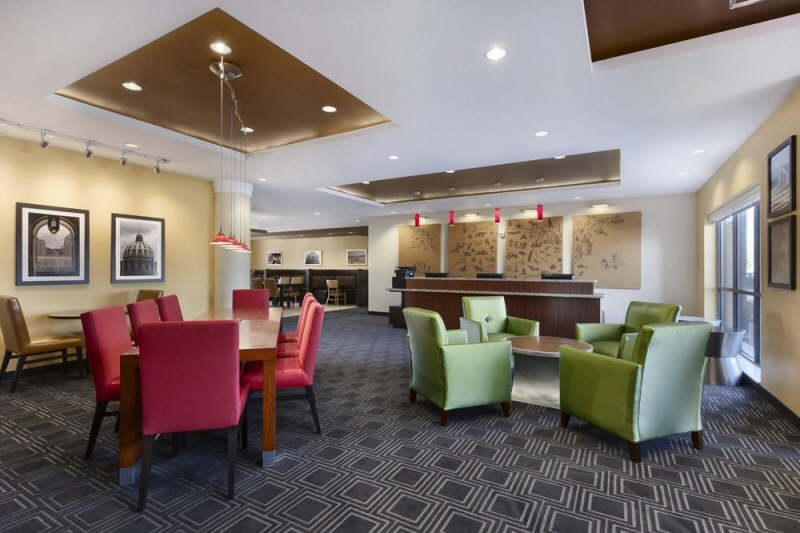 Cozy modern lobby at the Homewood Suites in Reading PA