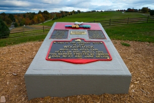 Plaque of where the Woodstock festival in Bethel, New York, took place