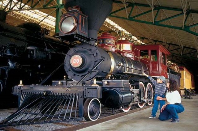 "The museum has more than 100 historic locomotives and railroad cars that chronicle American railroad history. An interactive display allows visitors to ""take the throttle"" on a simulated run in a real freight locomotive, climb aboard a caboose, inspect a 62-ton locomotive from underneath, view restoration activities via closed-circuit television, enjoy interactive educational programs, and more."