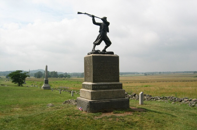 Monuments at Gettysburg feature wounded soldiers, but in each there is a focal point of another theme. In the Louisiana monument, the wounded soldier clutches his heart while Spirit Triumphant flies overhead. The Mississippi monument depicts a comrade standing over his fallen brother wielding his rifle as a club against oncoming attackers.